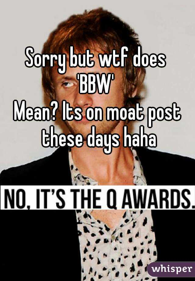 Sorry but wtf does  'BBW'  Mean? Its on moat post these days haha