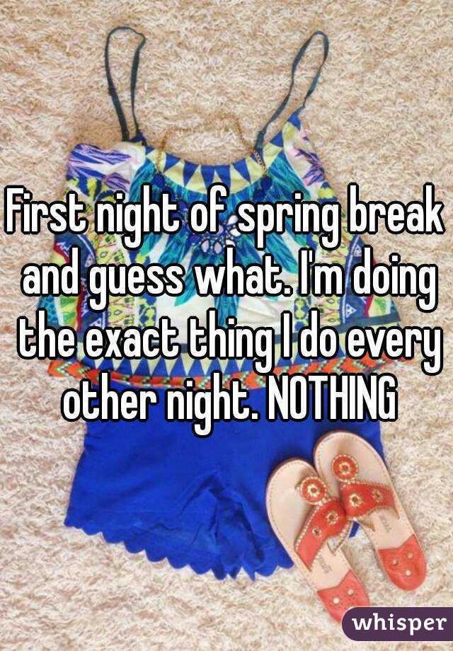First night of spring break and guess what. I'm doing the exact thing I do every other night. NOTHING