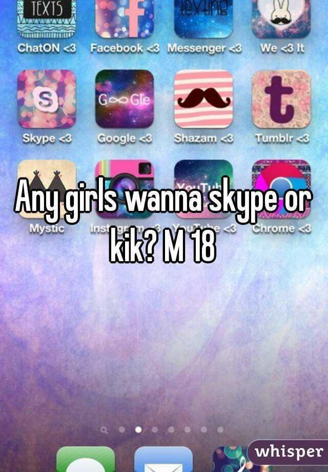 Any girls wanna skype or kik? M 18