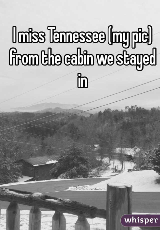 I miss Tennessee (my pic) from the cabin we stayed in