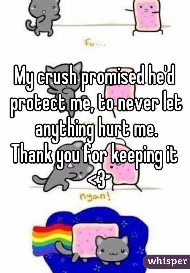 My crush promised he'd protect me, to never let anything hurt me. Thank you for keeping it <3