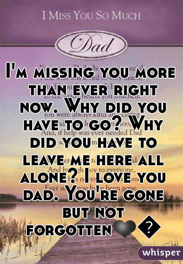 I'm missing you more than ever right now. Why did you have to go? Why did you have to leave me here all alone? I love you dad. You're gone but not forgotten❤😭
