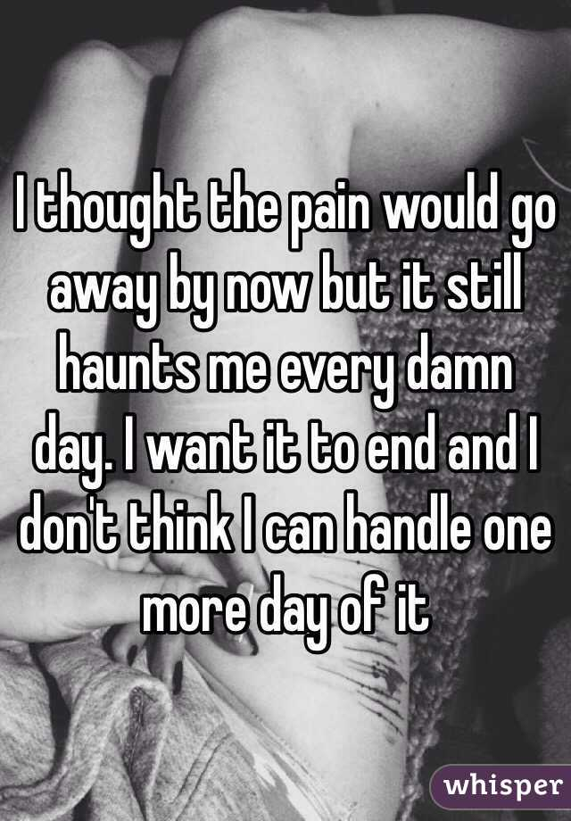 I thought the pain would go away by now but it still haunts me every damn day. I want it to end and I don't think I can handle one more day of it