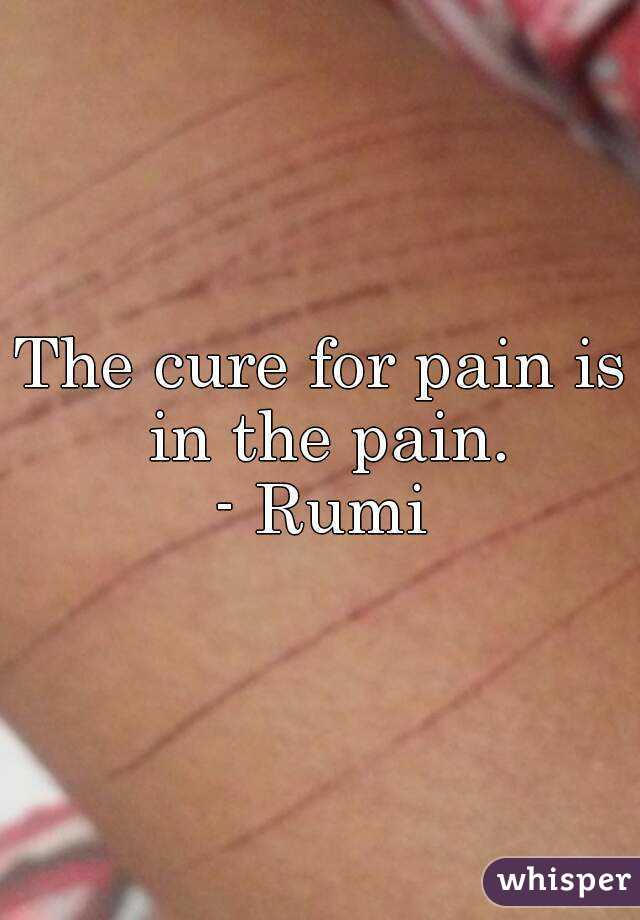 The cure for pain is in the pain. - Rumi