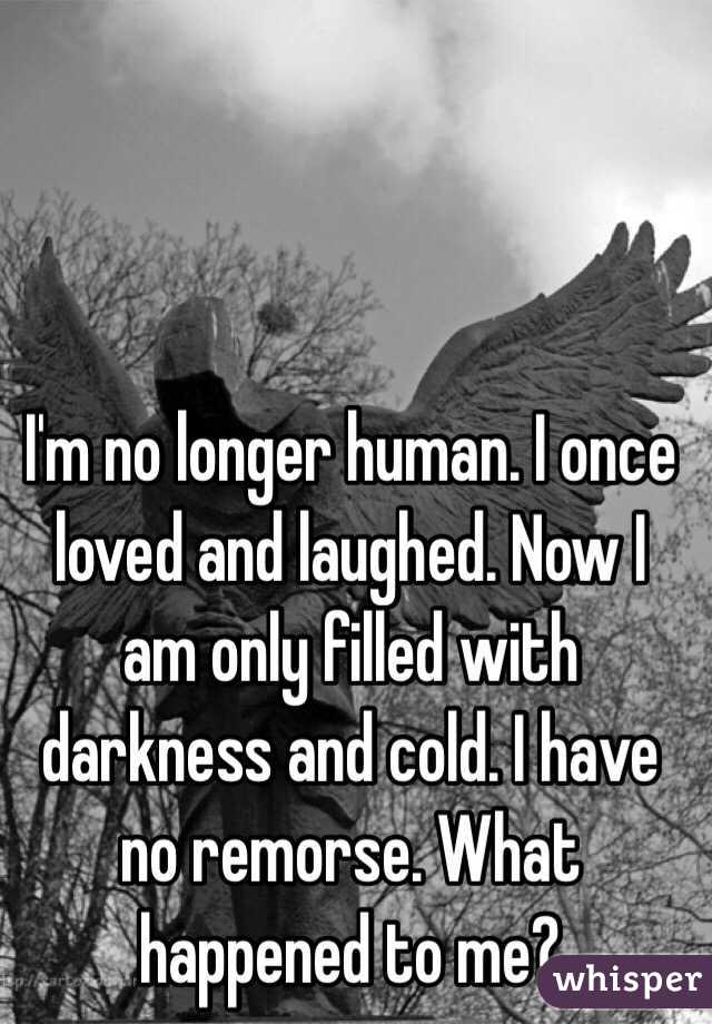 I'm no longer human. I once loved and laughed. Now I am only filled with darkness and cold. I have no remorse. What happened to me?