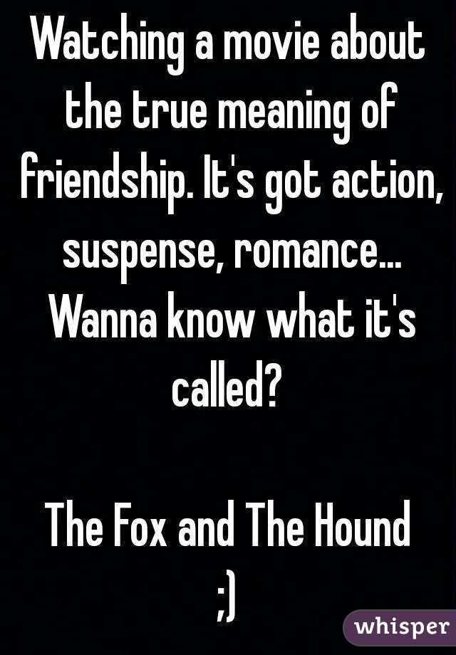 Watching a movie about the true meaning of friendship. It's got action, suspense, romance... Wanna know what it's called?   The Fox and The Hound ;)