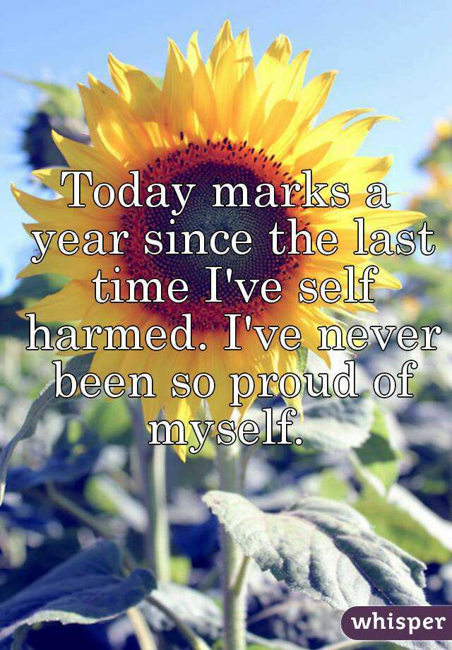Today marks a year since the last time I've self harmed. I've never been so proud of myself.