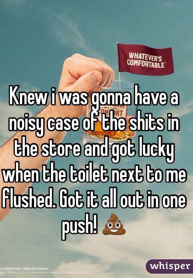 Knew i was gonna have a noisy case of the shits in the store and got lucky when the toilet next to me flushed. Got it all out in one push! 💩