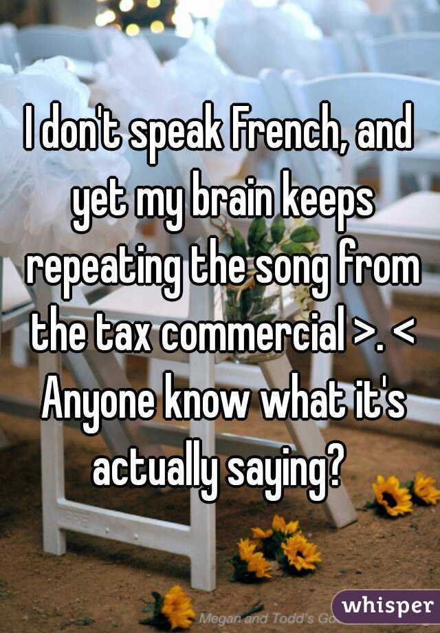 I don't speak French, and yet my brain keeps repeating the song from the tax commercial >. < Anyone know what it's actually saying?
