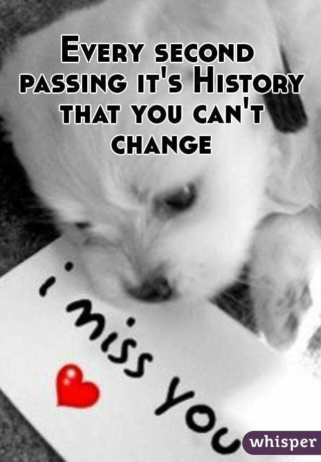 Every second passing it's History that you can't change