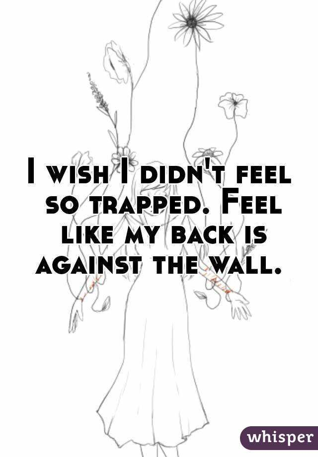 I wish I didn't feel so trapped. Feel like my back is against the wall.