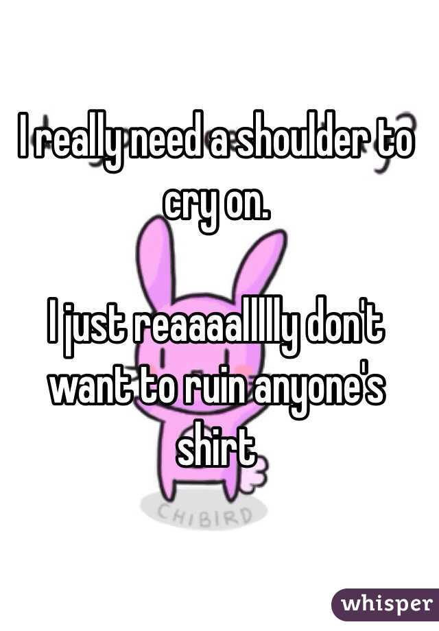 I really need a shoulder to cry on.  I just reaaaallllly don't want to ruin anyone's shirt