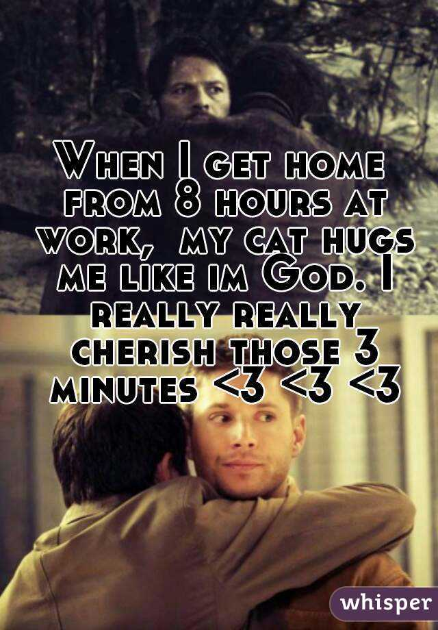 When I get home from 8 hours at work,  my cat hugs me like im God. I really really cherish those 3 minutes <3 <3 <3