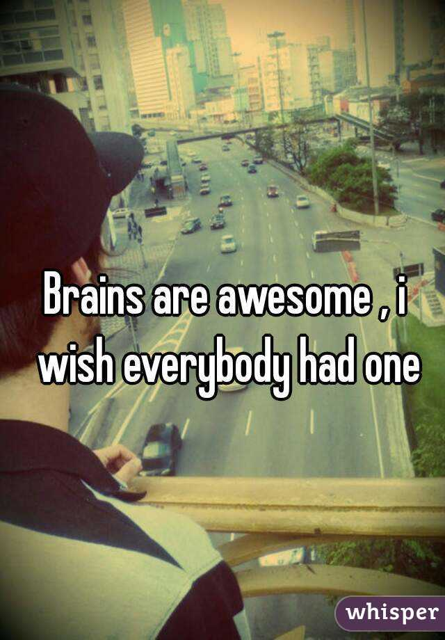 Brains are awesome , i wish everybody had one