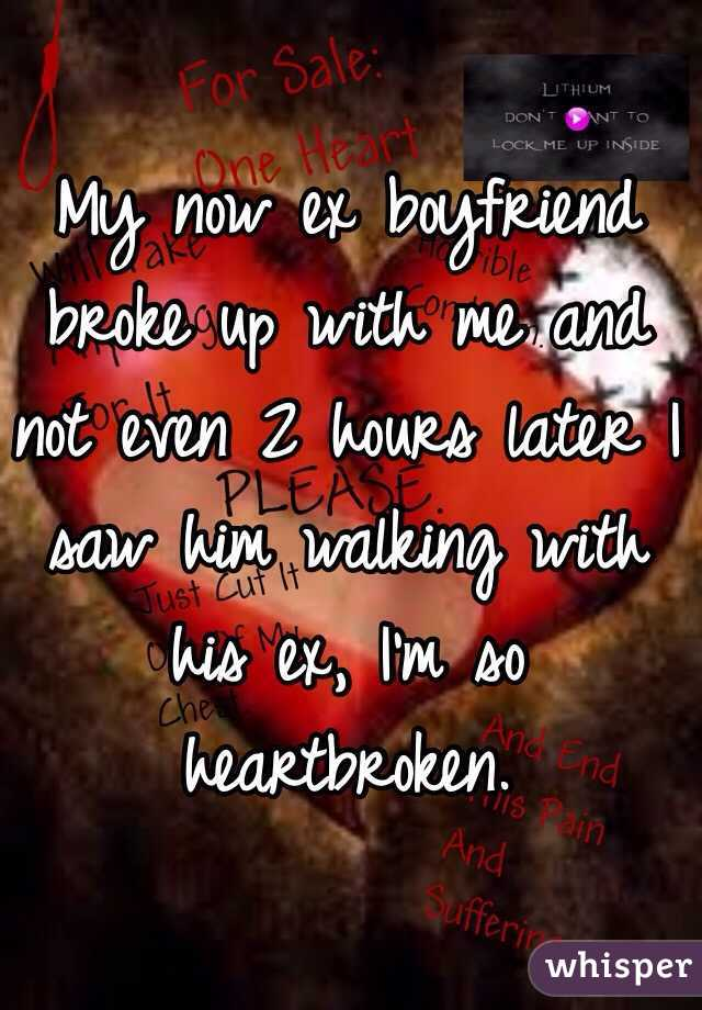 My now ex boyfriend broke up with me and not even 2 hours later I saw him walking with his ex, I'm so heartbroken.