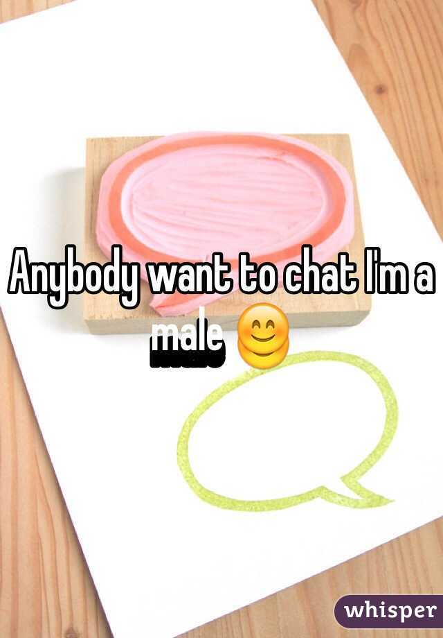 Anybody want to chat I'm a male 😊