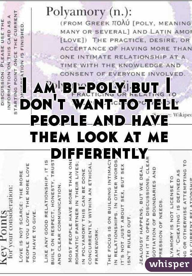 I am bi-poly but I don't want to tell people and have them look at me differently