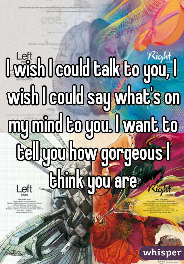 I wish I could talk to you, I wish I could say what's on my mind to you. I want to tell you how gorgeous I think you are