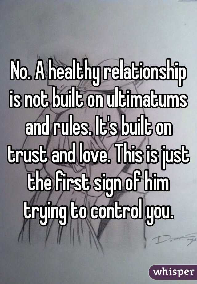 Ultimatums and relationships