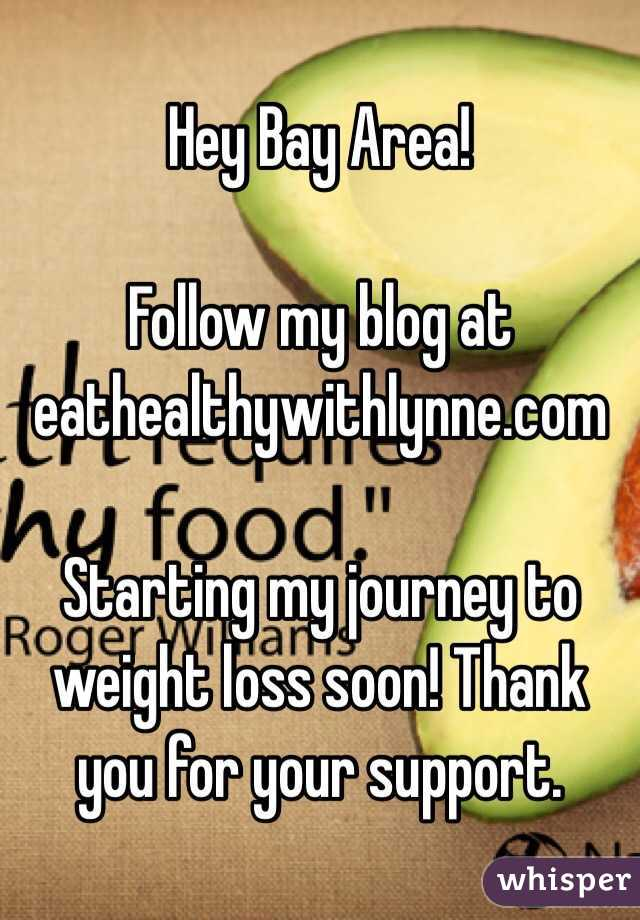 Hey Bay Area!  Follow my blog at eathealthywithlynne.com  Starting my journey to weight loss soon! Thank you for your support.