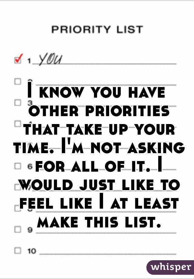 I know you have other priorities that take up your time. I'm not asking for all of it. I would just like to feel like I at least make this list.