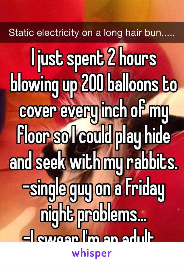 I just spent 2 hours blowing up 200 balloons to cover every inch of my floor so I could play hide and seek with my rabbits.  -single guy on a Friday night problems...  -I swear I'm an adult...