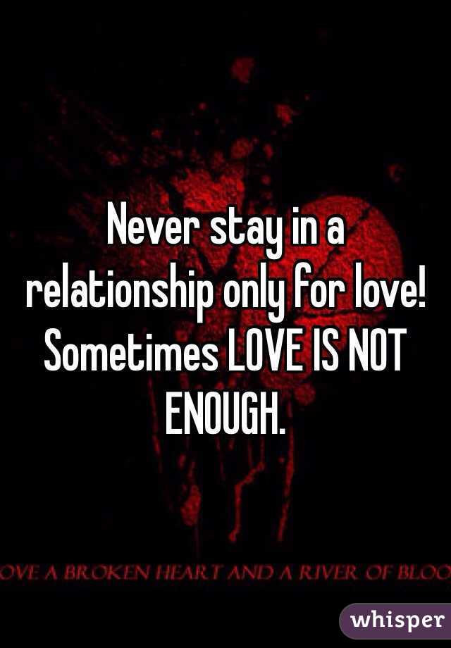 Is love enough for a relationship