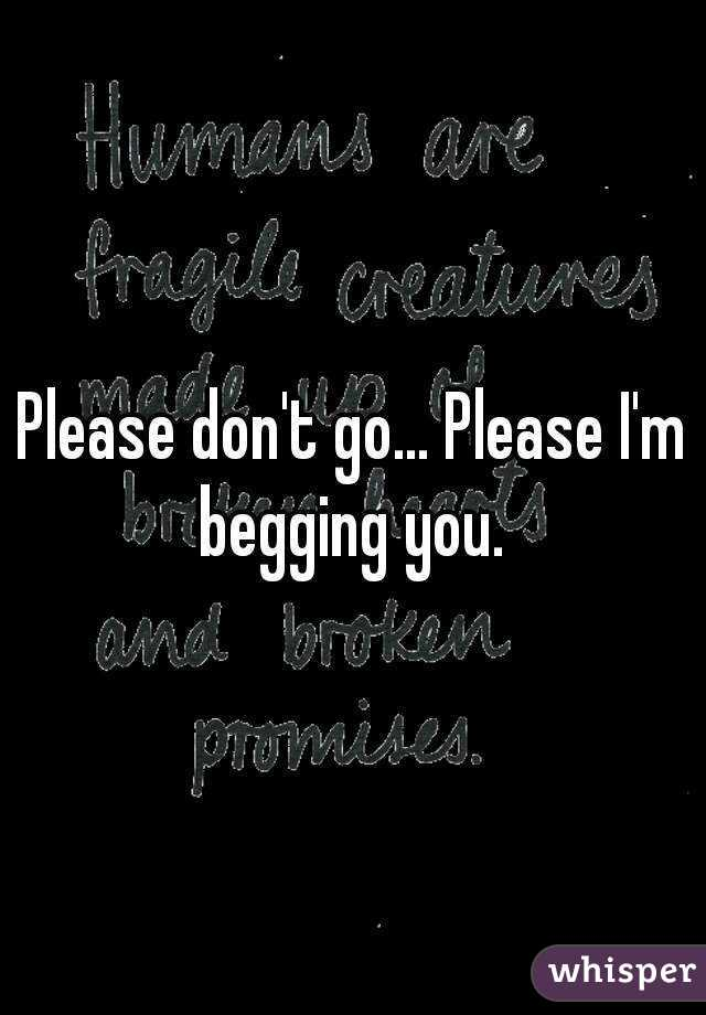 Please don't go... Please I'm begging you.