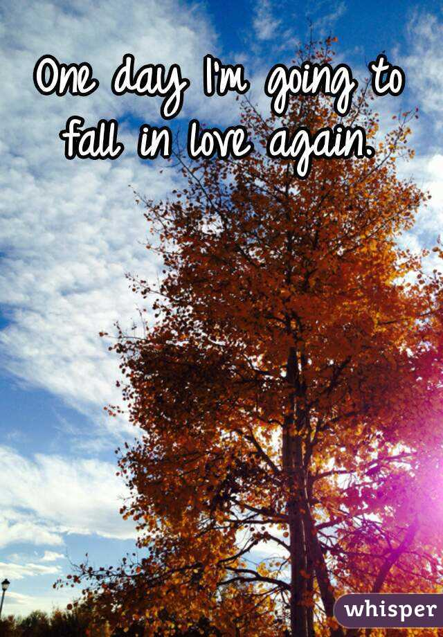 One day I'm going to fall in love again.