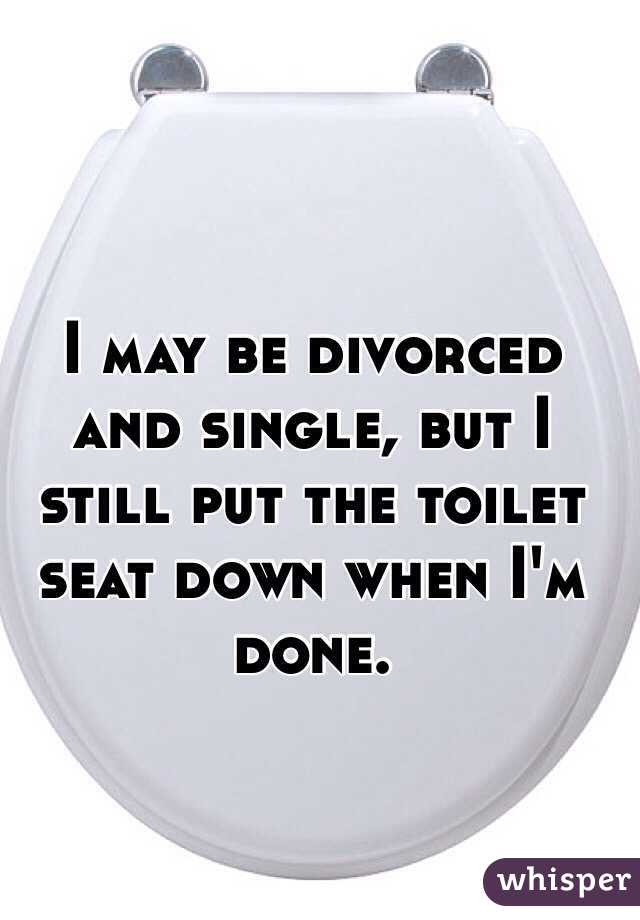 I may be divorced and single, but I still put the toilet seat down when I'm done.