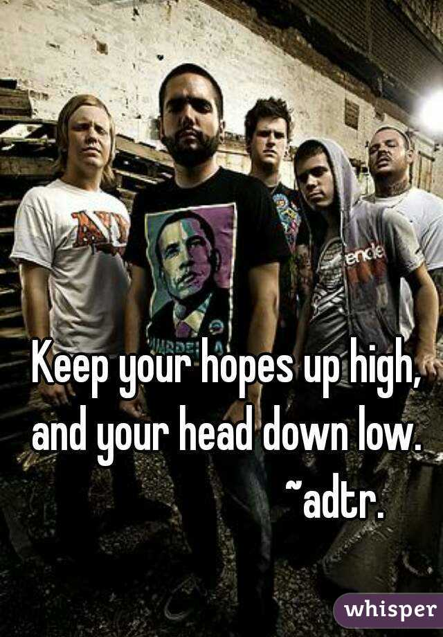 Keep your hopes up high, and your head down low.                          ~adtr.