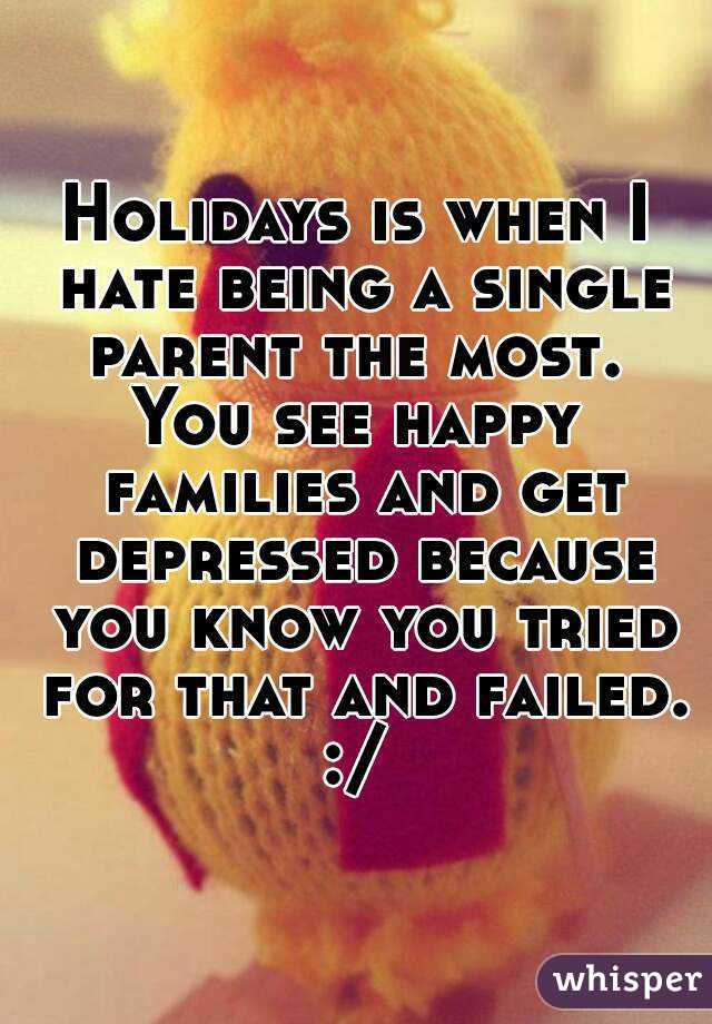Holidays is when I hate being a single parent the most.  You see happy families and get depressed because you know you tried for that and failed. :/
