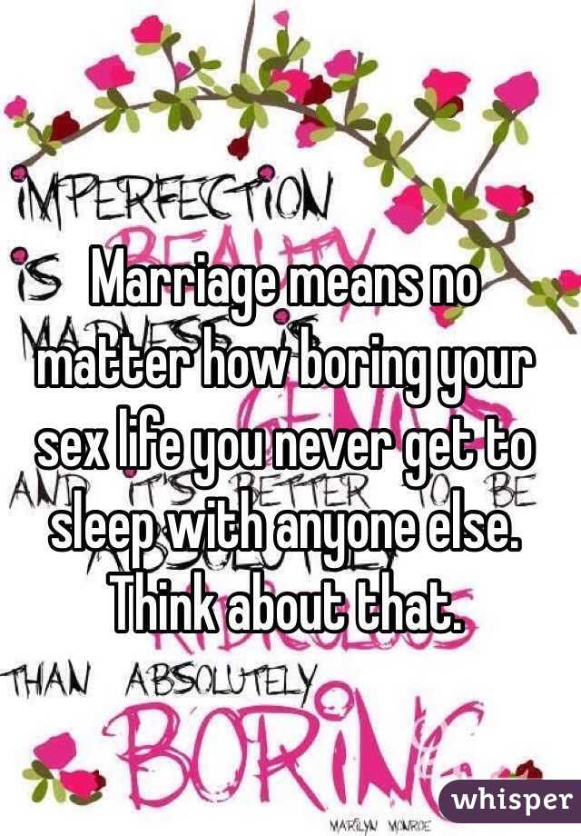 No sex life in marriage