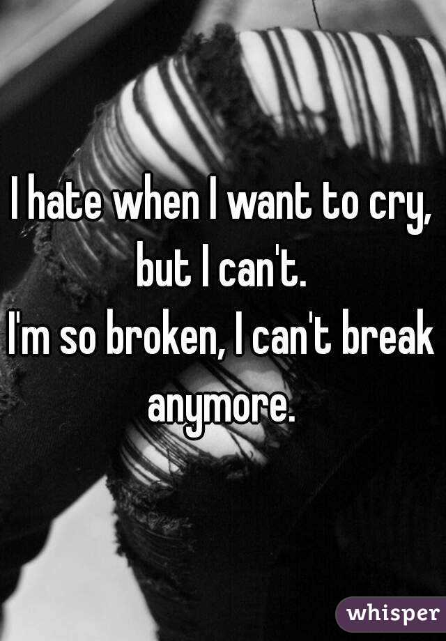I hate when I want to cry, but I can't.  I'm so broken, I can't break anymore.