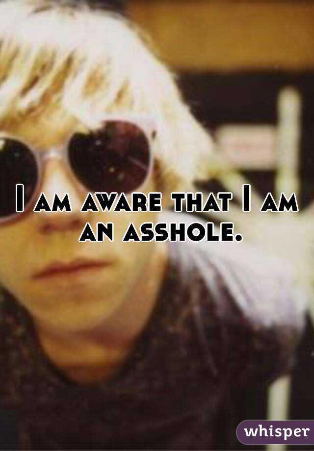 I am aware that I am an asshole.