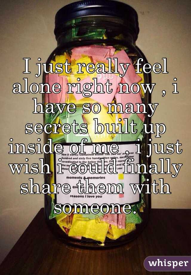I just really feel alone right now , i have so many secrets built up inside of me , i just wish i could finally share them with someone.
