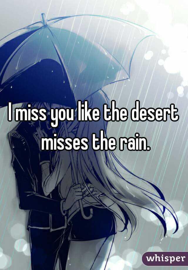 I miss you like the desert misses the rain.