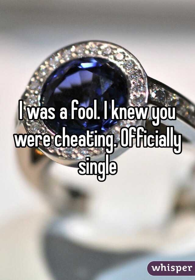 I was a fool. I knew you were cheating. Officially single