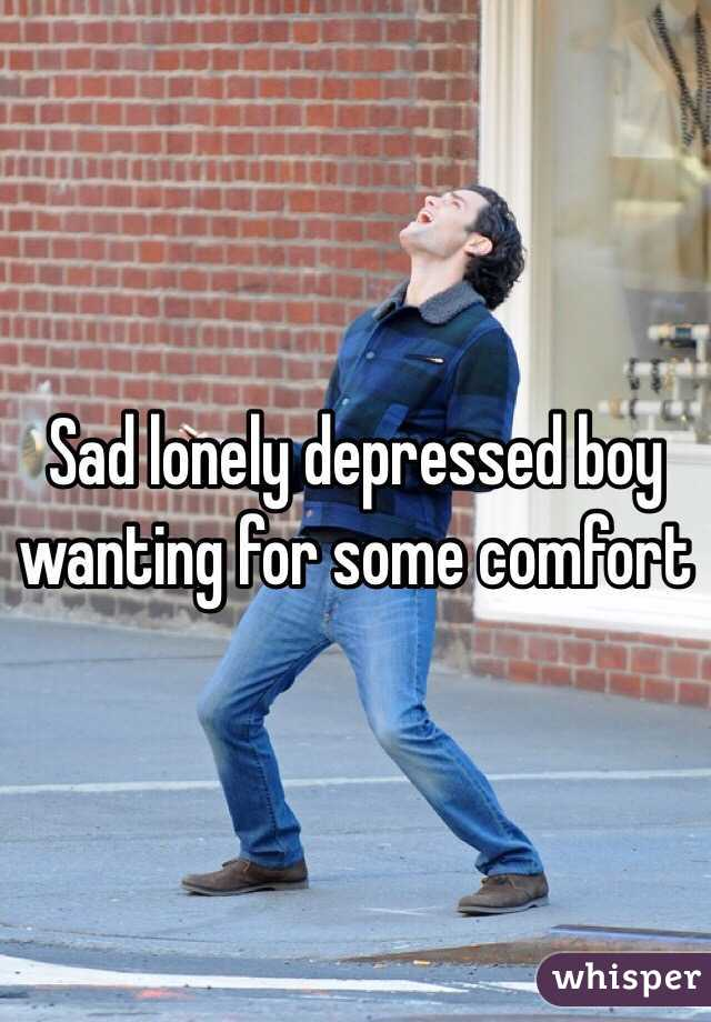 Sad lonely depressed boy wanting for some comfort