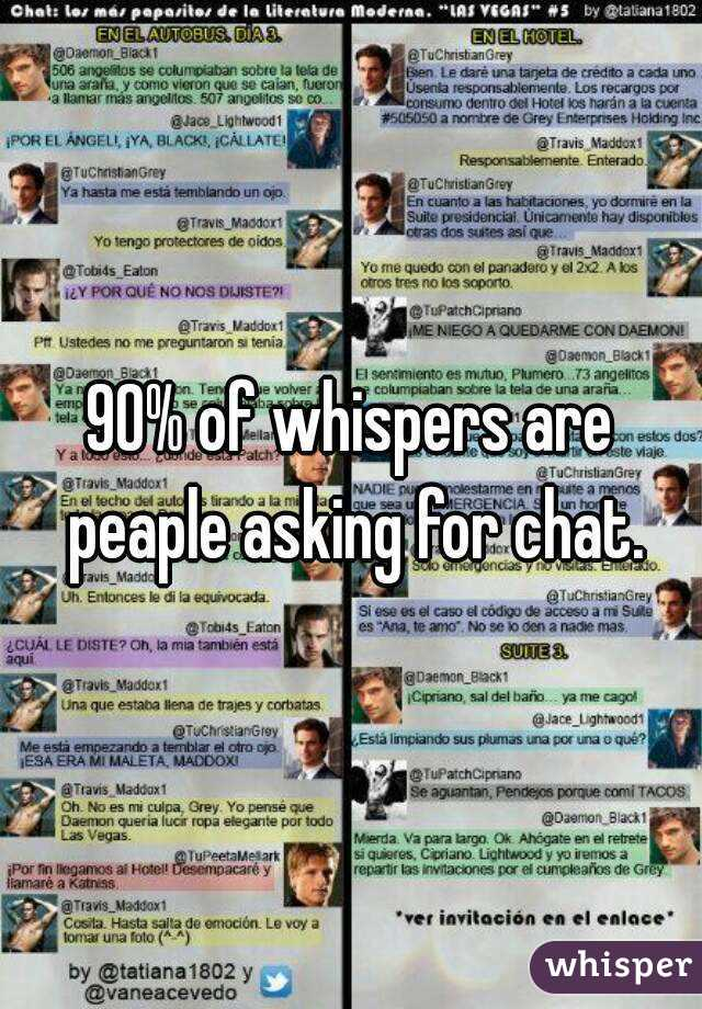 90% of whispers are peaple asking for chat.