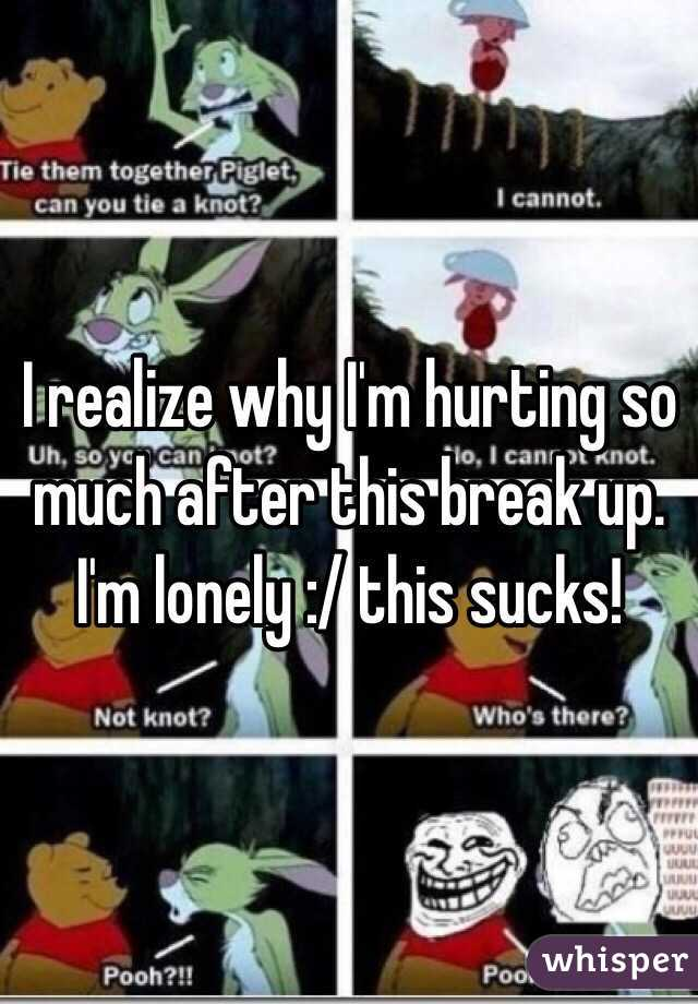 I realize why I'm hurting so much after this break up. I'm lonely :/ this sucks!