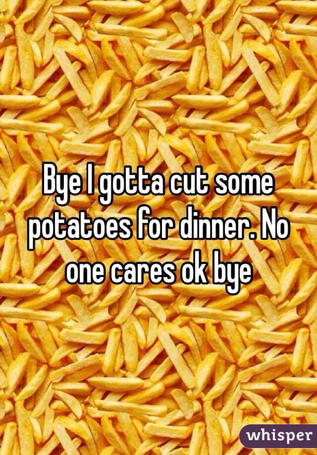 Bye I gotta cut some potatoes for dinner. No one cares ok bye