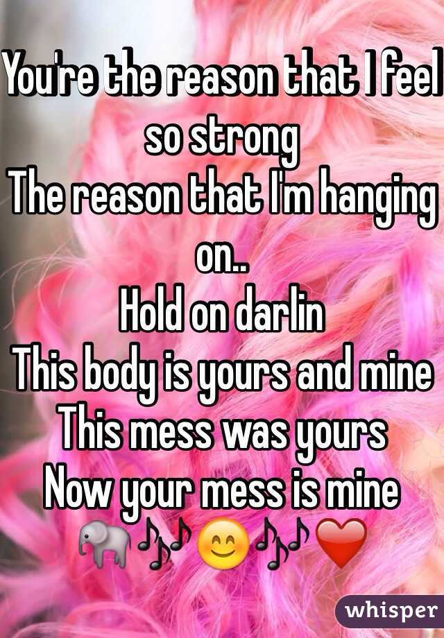 You're the reason that I feel so strong The reason that I'm hanging on.. Hold on darlin This body is yours and mine This mess was yours Now your mess is mine 🐘🎶😊🎶❤️