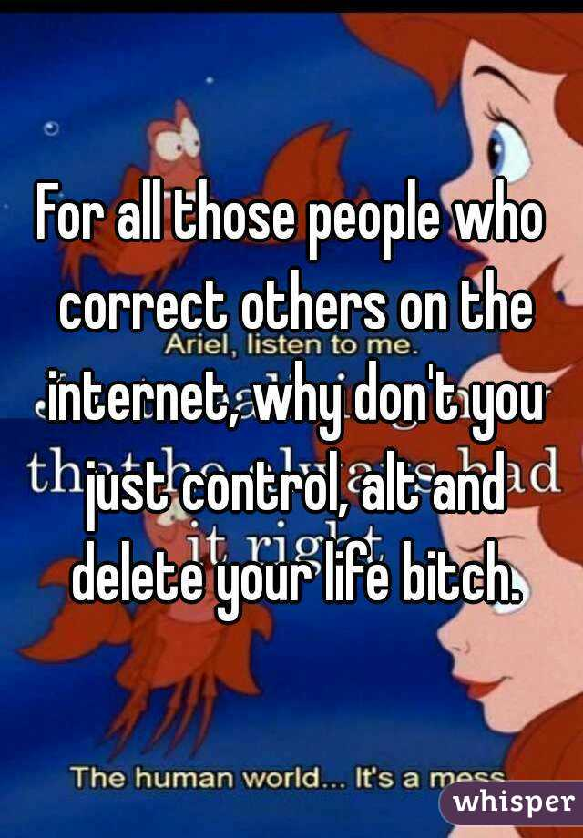 For all those people who correct others on the internet, why don't you just control, alt and delete your life bitch.