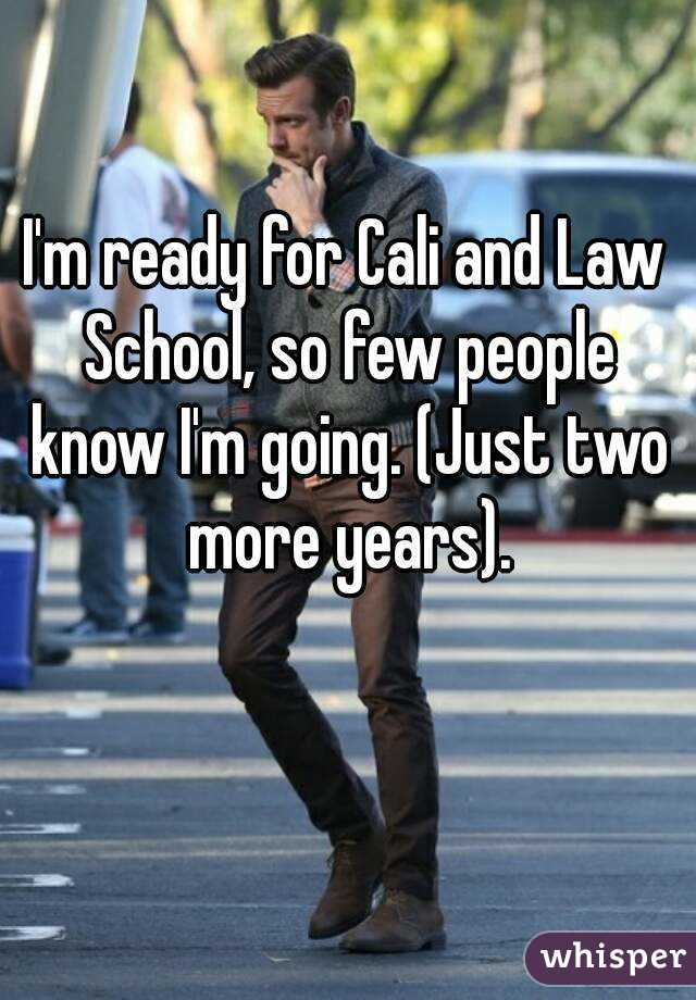 I'm ready for Cali and Law School, so few people know I'm going. (Just two more years).
