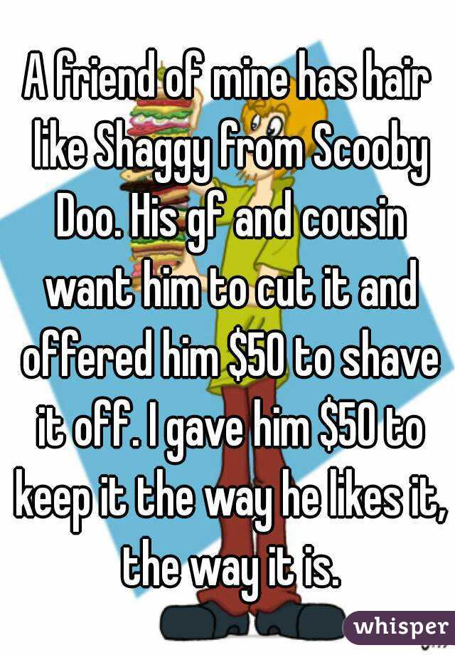 A friend of mine has hair like Shaggy from Scooby Doo. His gf and cousin want him to cut it and offered him $50 to shave it off. I gave him $50 to keep it the way he likes it, the way it is.