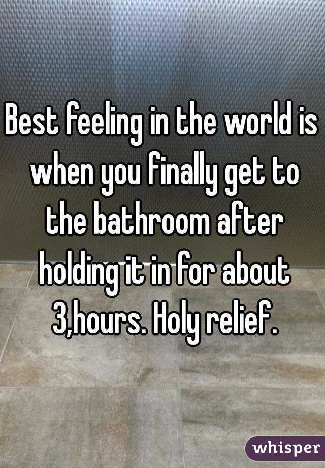 Best feeling in the world is when you finally get to the bathroom after holding it in for about 3,hours. Holy relief.