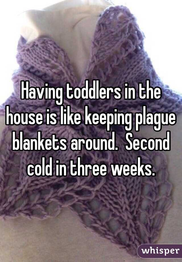 Having toddlers in the house is like keeping plague blankets around.  Second cold in three weeks.