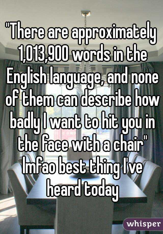 """""""There are approximately 1,013,900 words in the English language, and none of them can describe how badly I want to hit you in the face with a chair"""" lmfao best thing I've heard today"""