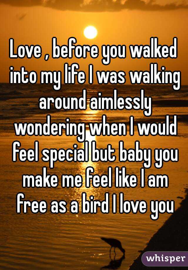 Love , before you walked into my life I was walking around aimlessly wondering when I would feel special but baby you make me feel like I am free as a bird I love you